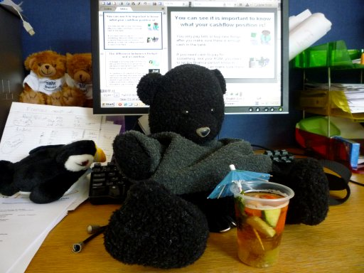 photo of Boris Big Feet in front of PC with a Pimms
