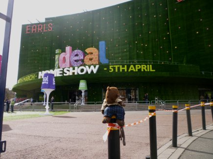 photo of bearsac sitting outside Earls Court Ideal Home Show