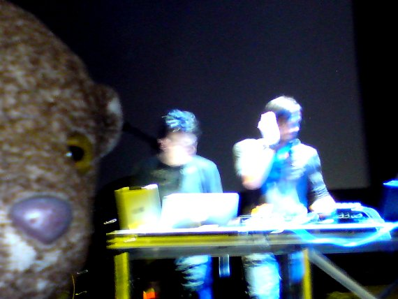 blurred photo of Bearsac at The Roundhouse with Ade Fenton and Gary Numan DJing behind