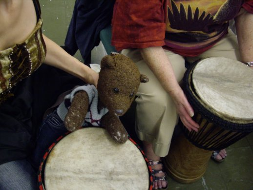 photo of bearsac playing african drum