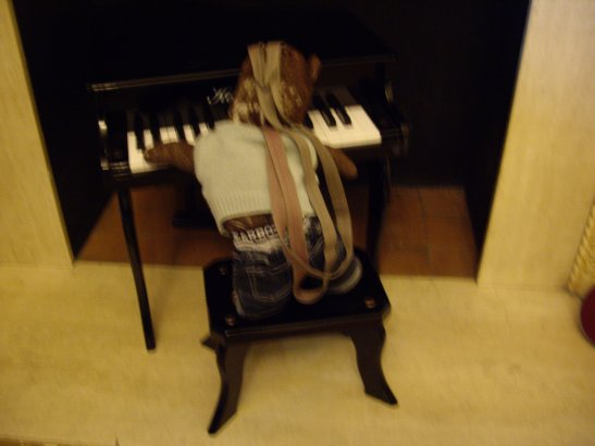 photo of bearsac playing a miniture piano