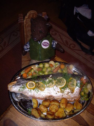 photo of bearsac with platter of roasted salmon and vegetables